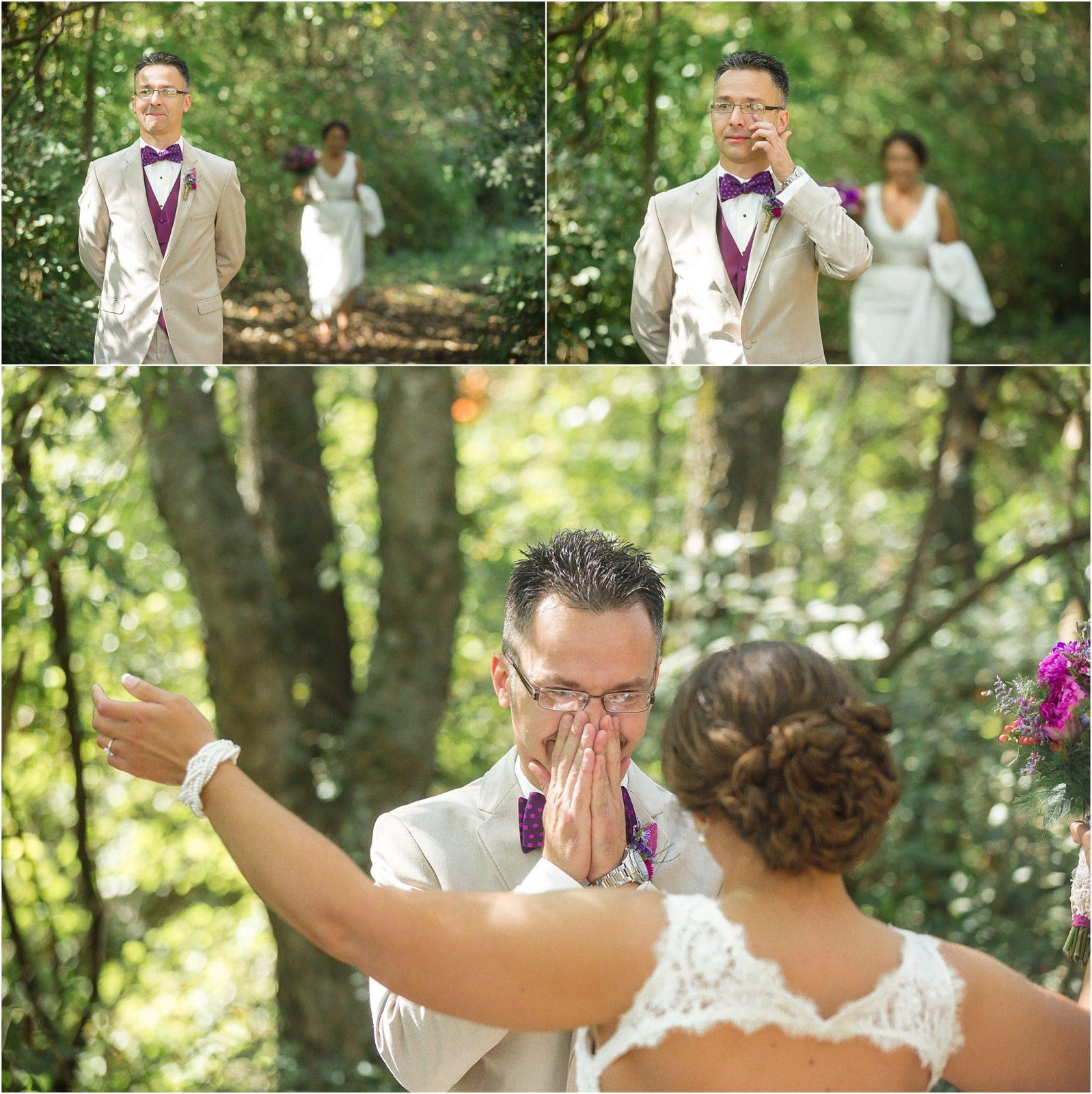 Noivo e noivo primeiro olhar